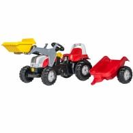 Raudonas Traktorius Rolly Toys rollyKid STEYR Pedalinis su Kaušu ir Priekaba