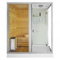 Sauna su hidromasažine dušo kabina AMO-1752 W 180x110 Kairė